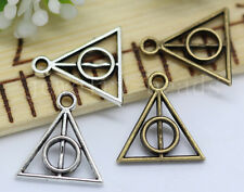 15/60/300pcs Tibetan Silver Harry potter Deathly Hallows Charms Pendant 13x12mm