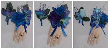 2pcs Corsage Boutonniere Set Blue Purple Orchids Royal Blue & Silver Accent