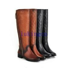 Women's 100% REAL LEATHER Side Zipper Knee High Boots Pointed Toe Flats Shoes Sz