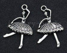 6/30/150pcs Tibetan Silver Ballet Girl Jewelry Craft DIY Charms Pendant 35x20mm