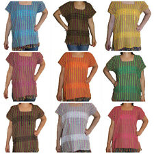 Assorted Colors Hippie Vintage Style Mexican Tunic Blouse Telar Hand loom L-XL
