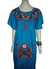 Aqua Vintage Style Hand Embroidered Tunic Mexican Dress Hippie Puebla