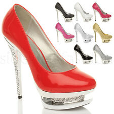 WOMENS LADIES DIAMANTE PLATFORM HIGH HEEL CRYSTAL BLING COURT SHOES PUMPS SIZE