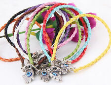 "10/100Pcs Mixed HAMSA HAND ""Evil Eye""String Bracelets Craft Leather Bracelets"