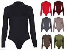 NEW WOMENS LADIES POLO NECK STRETCH PLAIN LEOTARD LONG SLEEVES BODYSUIT TOP 8-14