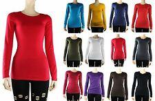 Basic Crew Neck Plain Long Sleeve TOP Layering Cotton/Spandex T-SHIRTS Solid SML