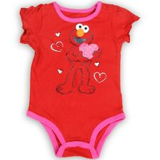 NEW Sesame Street Baby Girls ELMO Red Pink Heart Onesie Bodysuit Sz 3-6. 6-9