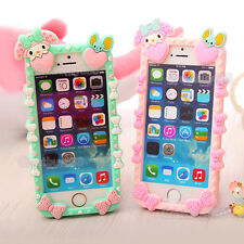 3D Lovely Cute Rabbit Cartoon Soft Silicone Case Cover for iPhone 6 6S Plus 5S