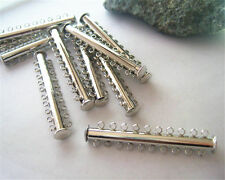New Silver 10 Strands Magnetic Slide Lock Clasps Bayonet Clasp Jewlery Findings