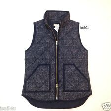 J. Crew Factory Excursion Quilted Printed Puffer Vest NWT Navy Size: XS, M