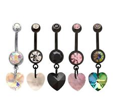 Double Jewelled Dangle Prism Heart Belly Bar / Navel Ring