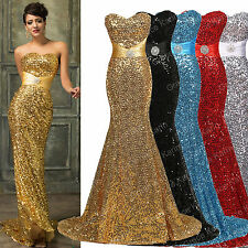 Sequins Mermaid Long Evening Ball Gown Bridesmaids Formal Cocktail Wedding Dress