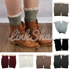 US SHIP Women Ladies Winter Leg Warmers Crochet Knit Boot Socks Toppers Cuffs