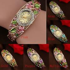 Splendent Women Girl Bangle Crystal Flower Bracelet Quartz Watch Wristwatch New