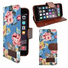 APPLE IPHONE 6 DENIM JEANS LIGHT BLUE MULTI FLOWER DESIGN BOOK FLIP CASE COVER