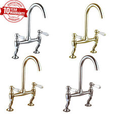 Traditional Classic Chrome Kitchen Sink Bridge Mixer Tap White Lever Handles *14