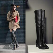 womens ladies stretchy leather THIGH high boots high heel shoes over the knee sz