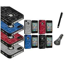 Brushed Metal Aluminum Robot Grid Hard Case Cover+Charger+Pen for iPhone 4 4G 4S