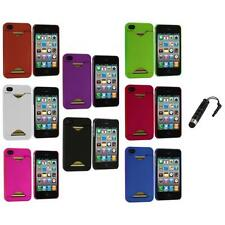 Credit Card ID Snap-On Rubberized Hard Case Cover+Stylus Plug for iPhone 4S 4G 4