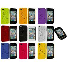 3D Rose Flower Color Hard Rubberized Cover Case+Sticky Pad for iPhone 4 4S 4G