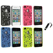Color Lovely Carving Rose Flower Rear Hard Case+Stylus Plug for iPhone 4 4G 4S