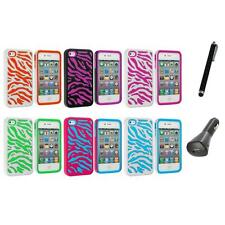 Color Hybrid Zebra Hard/Soft 2-Piece Case Cover+Charger+Pen for iPhone 4 4G 4S