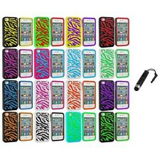 Color Hybrid Zebra Hard/Soft 2-Piece Case Cover+Stylus Plug for iPhone 4 4G 4S