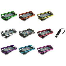 TPU Bumper Frame Case Cover with Metal Buttons+Stylus Plug for iPhone 4 4G 4S