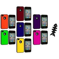 Color TPU Bumper Hybrid Hard Rubberized Case+Cable Wrap for iPhone 4 4S 4G