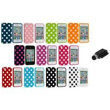 Polka Dot TPU Color Rubber Skin Case Cover+Dock Stylus for Apple iPhone 4 4S 4G
