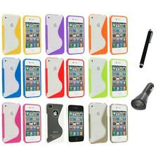 TPU Color Clear S-Shape S-Line Rubber Case Cover+Charger+Pen for iPhone 4S 4G 4
