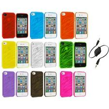 TPU Zebra Color Transparent Rubber Case Cover+Aux Cable for iPhone 4 4S 4G