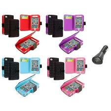 For iPhone 4 4G 4S Color Wallet Leather Folio Case Cover Pouch+Car Charger