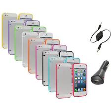 Color Clear Robot Crystal Hard Snap-On Case Cover+Aux+Charger for iPhone 5 5S