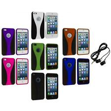 Color Black 3-Piece Rubberized Hard Snap-On Case+Headphones for iPhone 5 5S