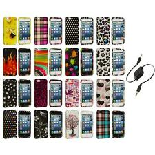 Design Color Hard Snap-On Rubberized Case Cover+Aux Cable for iPhone 5 5S