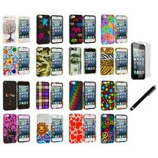 Colorful Hard Snap-On Rubberized Case Cover+LCD Film+Stylus for iPhone 5 5S