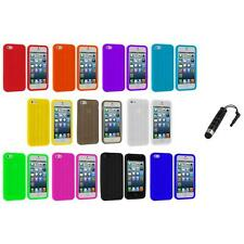 Tire Treads Color Silicone Rubber Skin Case Cover+Stylus Plug for iPhone 5 5S