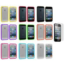 Transparent TPU Jelly Bumper Gel Case Gel Cover+Screen Protector for iPhone 5 5S