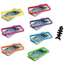 Solid TPU Bumper Frame Case Cover with Metal Buttons+Cable Wrap for iPhone 5 5S