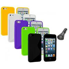 Color TPU Solid S-Shape S-Line Rubber Case Cover+Car Charger for iPhone 5 5S