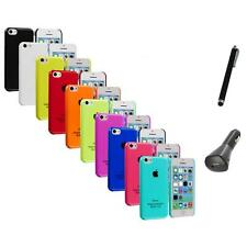 For iPhone 5C Crystal Hard Snap-On Ultra Thin Back Case Cover+Charger+Pen