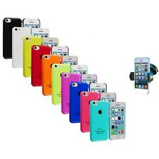 For iPhone 5C Crystal Hard Snap-On Ultra Thin Back Case Cover+Car 360 Mount