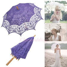 19 Colors Cotton Lace Wedding Parasol Umbrella for Bridal Photo Party Decoration
