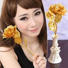 New Colorful Artificial Flower 24K Gold Plated Long Stem Rose Valentine Gift 1PC