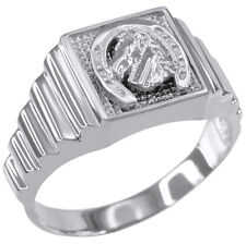 Sterling Silver Lucky Horseshoe Square Men's Ring