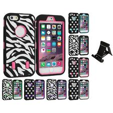 For iPhone 6 PLUS Hybrid Cover Case Polka Dot Zebra Stand Mount