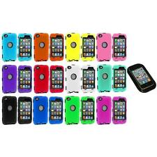 DELUXE COLOR BLACK CASE FOR IPOD TOUCH 4 4G 4TH GEN+PROTECTOR+STICKY PAD