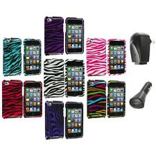 Zebra Design Hard Case Cover Accessory+2X Chargers for iPod Touch 4th Gen 4G 4