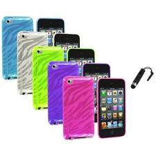 TPU Zebra Rubber Skin Case Cover+Stylus Plug for iPod Touch 4th Gen 4G 4